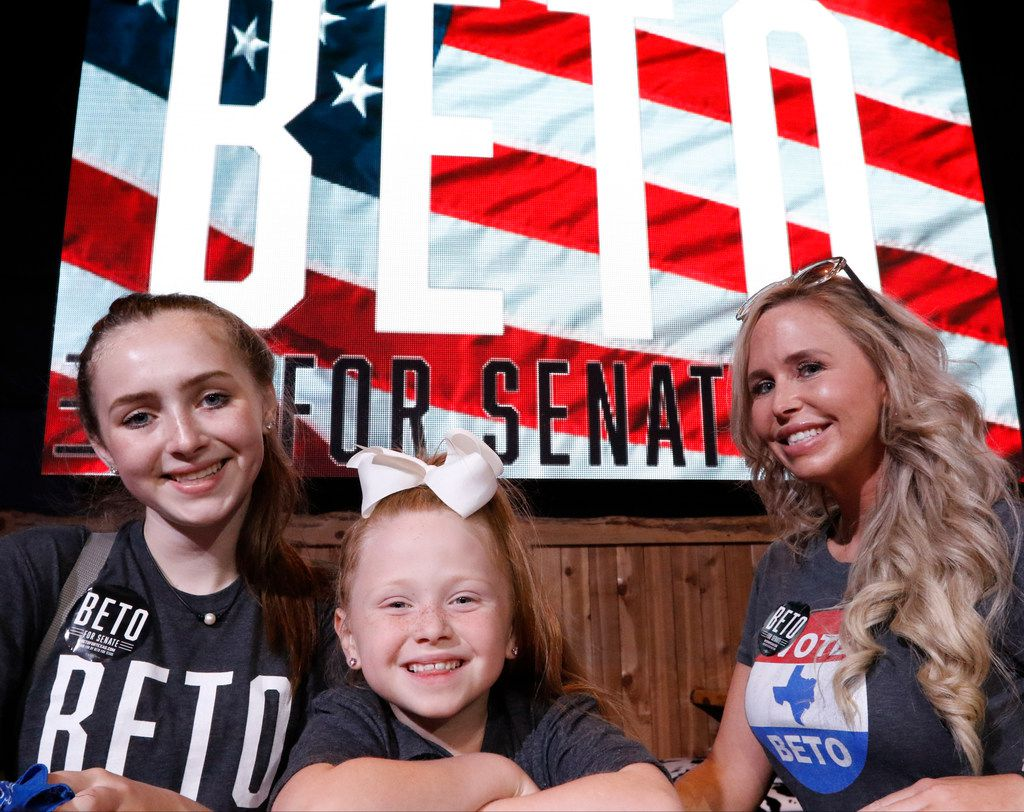 Tuesday Gross, cq, right, brought her two girls, Morgan, 14, and Meredith, 6, center, to hear Beto O'Rourke speak at a rally at the Houston Stampede Event Center in Houston Texas, on, Saturday, September 8, 2018. Ted Cruz campaigned in Humble, Texas, Texas on Saturday, while Beto O'Rourke campaigned a few miles away in Houston, Texas.