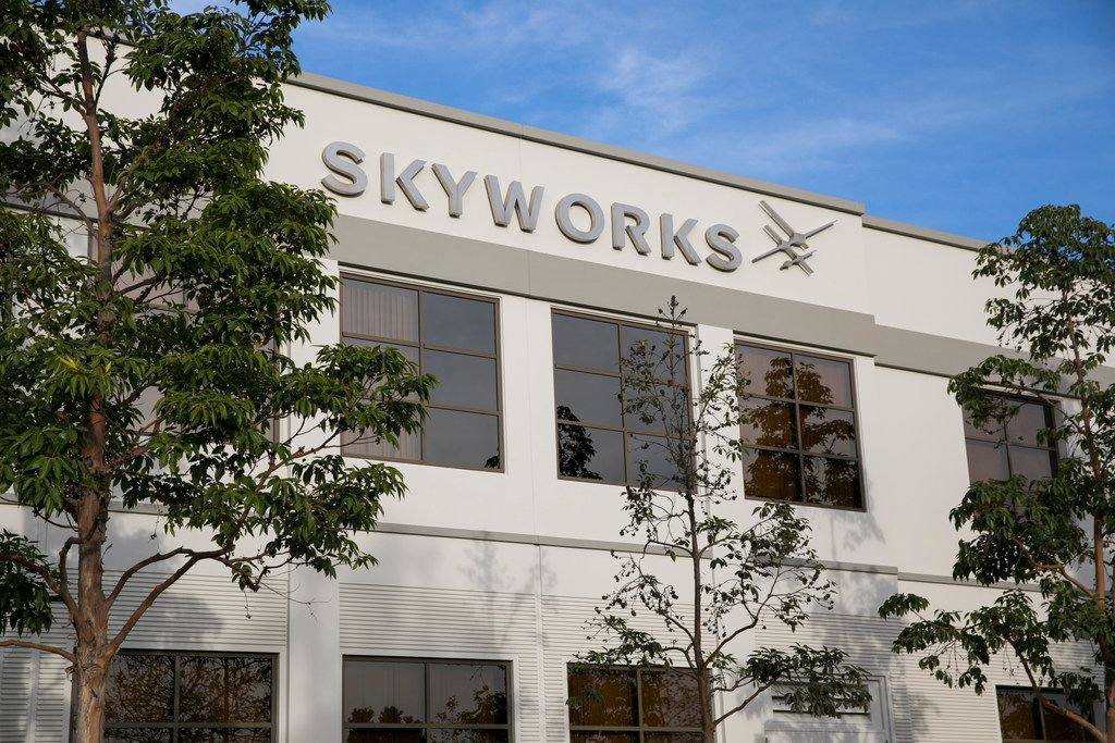 A logo sign outside of a facility occupied by Skyworks Solutions Inc. in Irvine, Calif.