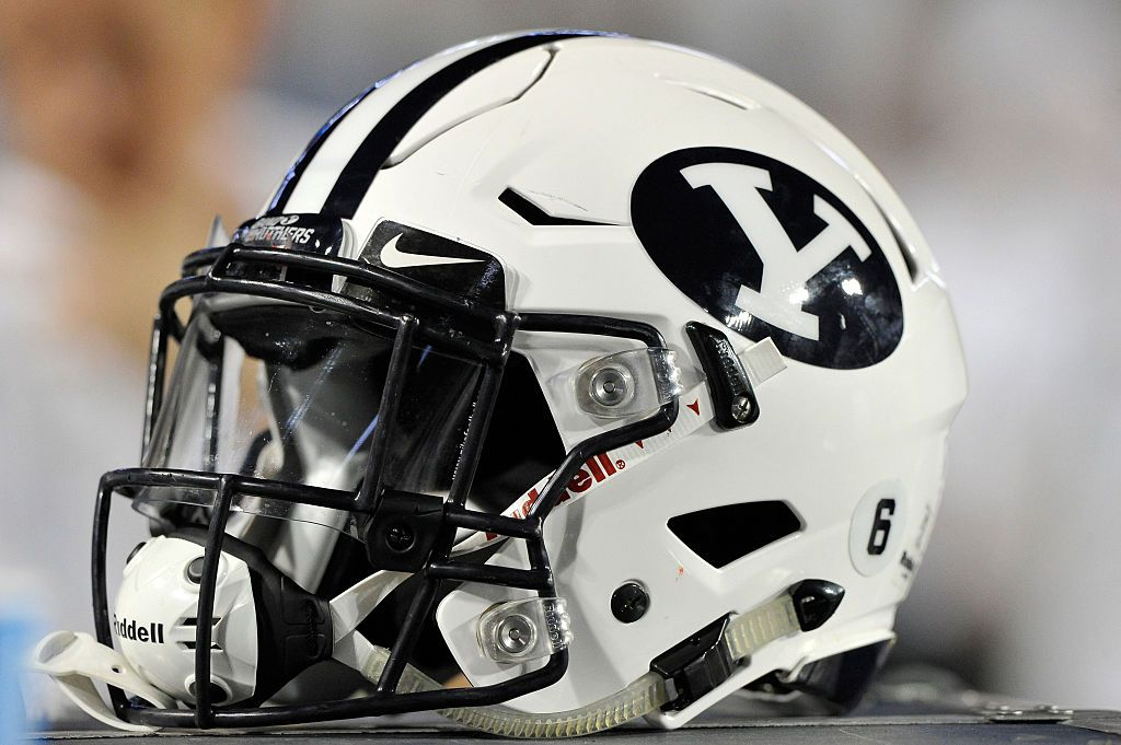 PROVO, UT - SEPTEMBER 12: Tight shot of a Brigham Young Cougars football helmet shown during their game against the Boise State Broncos at LaVell Edwards Stadium on September 12, 2015 in Provo, Utah. (Photo by Gene Sweeney Jr/Getty Images)