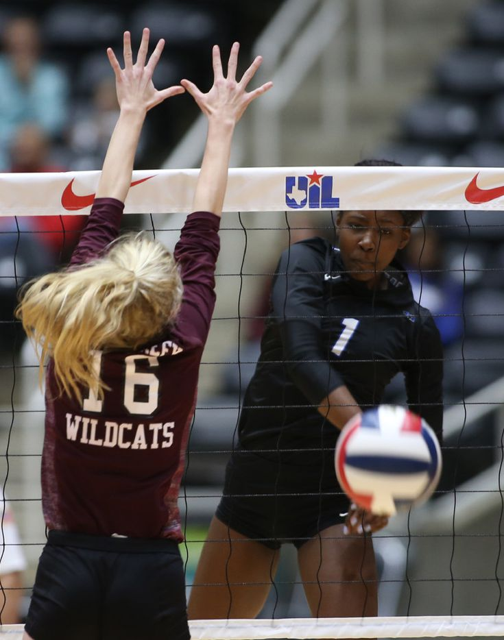 Hebron's Adanna Rollins (1) gets an ace against Clear Clreek's Kelsey Childers (16) in thier winning of the Class 6A Volleyball State Championship against Clear Creek, Saturday, November 19, 2016 at the Curtis Culwell Center in Garland. (Rick Moon/Special contributor)
