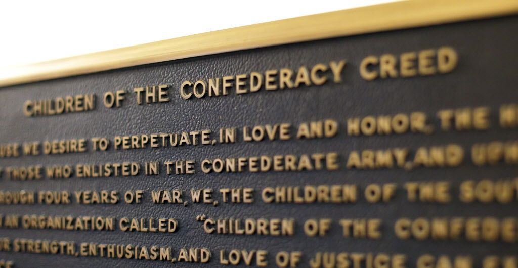 A Confederate plaque is displayed near the Rotunda in the Texas State Capitol in Austin.