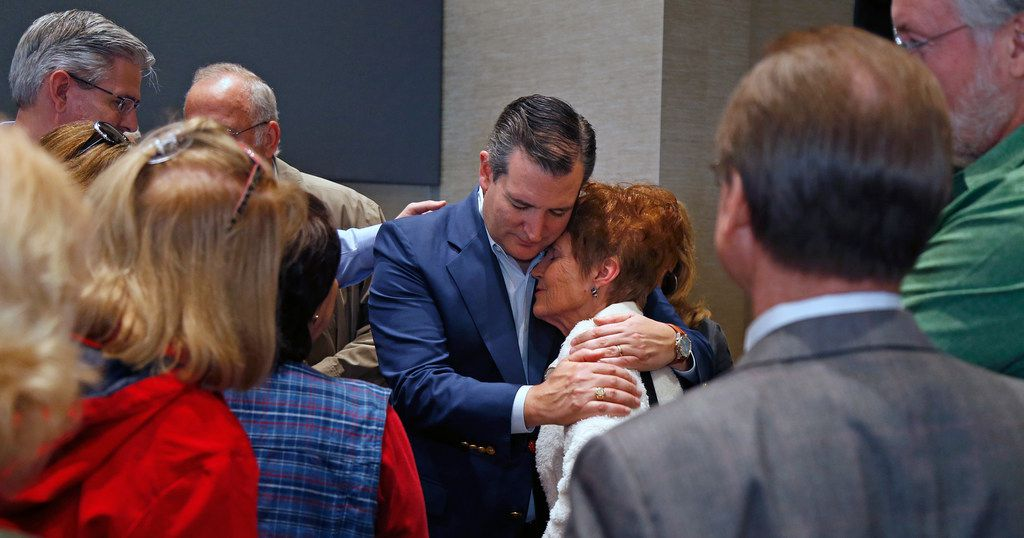 Sen. Ted Cruz hugs Sharon Monge after a rally with congressional candidate Chip Roy on Feb. 10 in New Braunfels.
