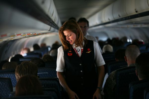 American Airlines flight attendant Kristen Heller did a routine cabin check on a flight in October.