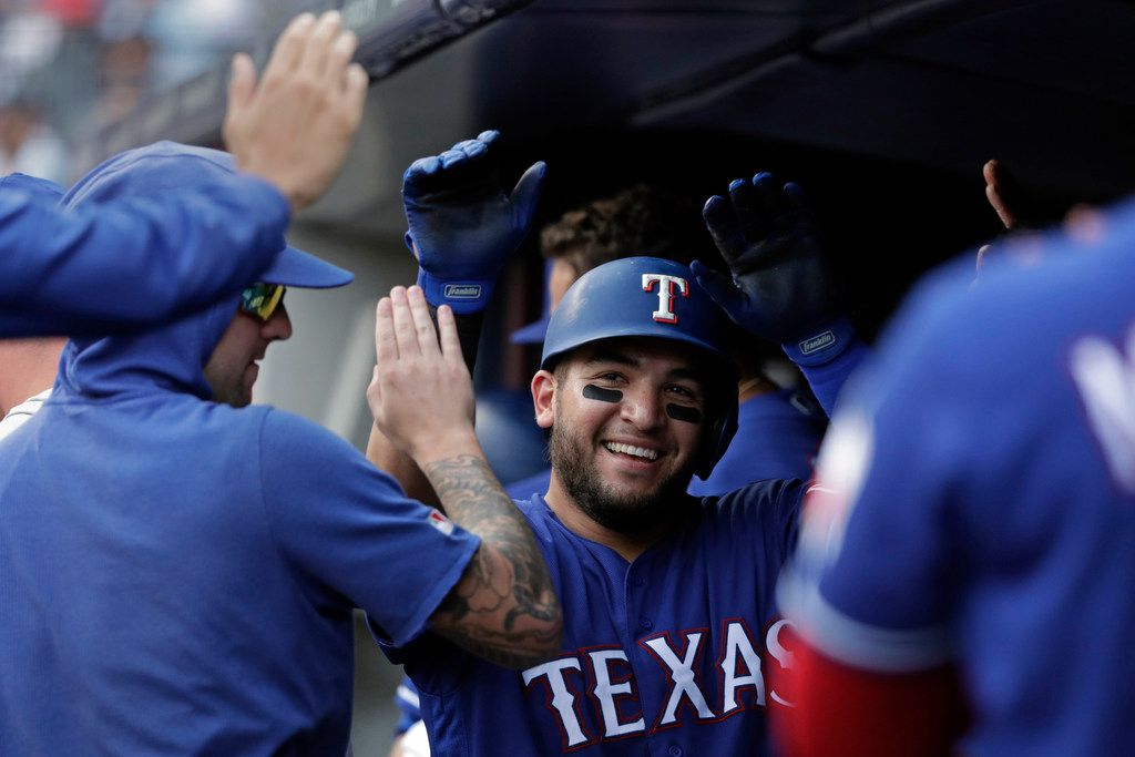 Texas Rangers Jose Trevino celebrates after hitting a solo home run during the fifth inning of a baseball game against the New York Yankees, Monday, Sept. 2, 2019, in New York. (AP Photo/Adam Hunger)