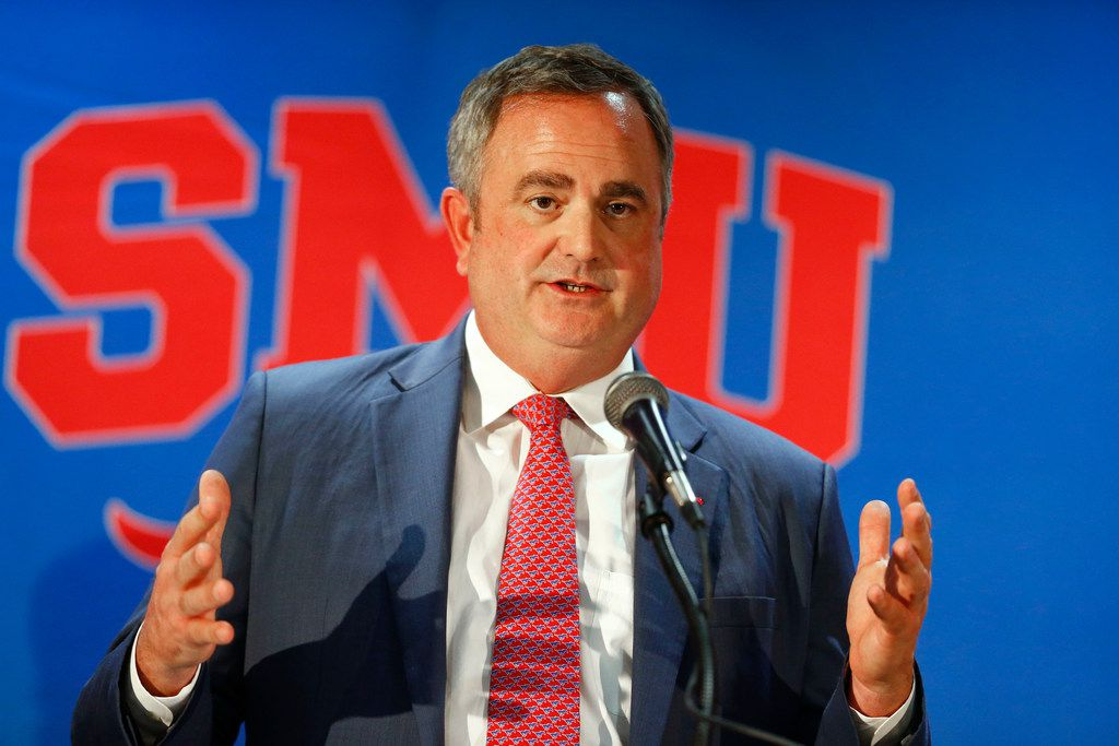 SMU's new football coach Sonny Dykes addresses the crowd and media upon his announcement at The Miller Event Center at SMU in Dallas on Dec. 12, 2017.  (Nathan Hunsinger/The Dallas Morning News)
