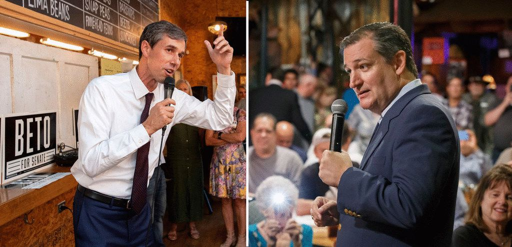 Democratic U.S. Rep. Beto O'Rourke, left, shown addressing supporters at a Dallas rally on May 24, hopes to unseat Republican U.S. Sen. Ted Cruz, right, shown speaking in Arlington on Aug. 14.