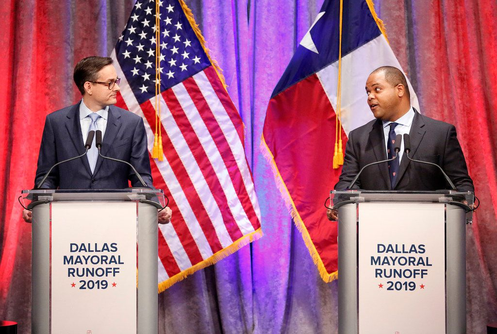State Rep. Eric Johnson, D-Dallas (right) addresses Dallas City Council member Scott Griggs during their a televised debate Tuesday at El Centro College in downtown Dallas. The debate was sponsored by The Dallas Morning News, KXAS-TV (NBC5) and the Dallas Regional Chamber.