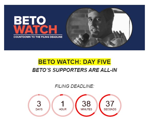 Sen. John Cornyn campaign email on Dec. 6, 2019, aimed at drumming up donations on the possibility of a challenge from Democrat Beto O'Rourke.