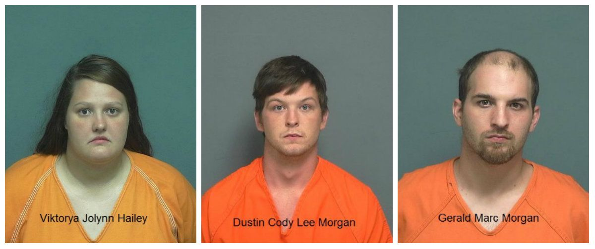 From left: Viktorya Jolynn Hailey, Dustin Cody Lee Morgan, Gerald Marc Morgan.