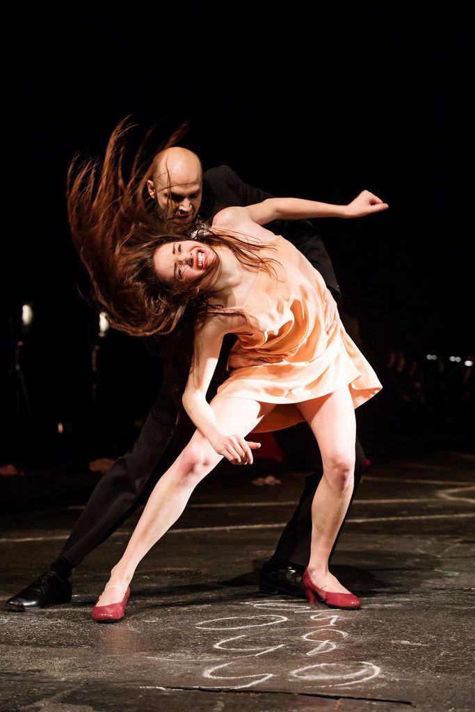Stephanie Troyak and Oleg Stepanov in an intense scene from Pina Bausch's The Seven Deadly Sins.