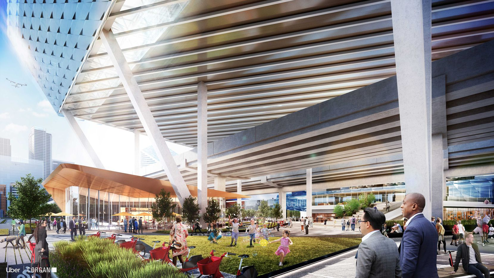 Dallas-based Corgan is one of eight architecture and engineering firms that presented renderings of skyports at the Uber Elevate Summit. In its renderings, it put public amenities like green space and a food hall below the flight deck.