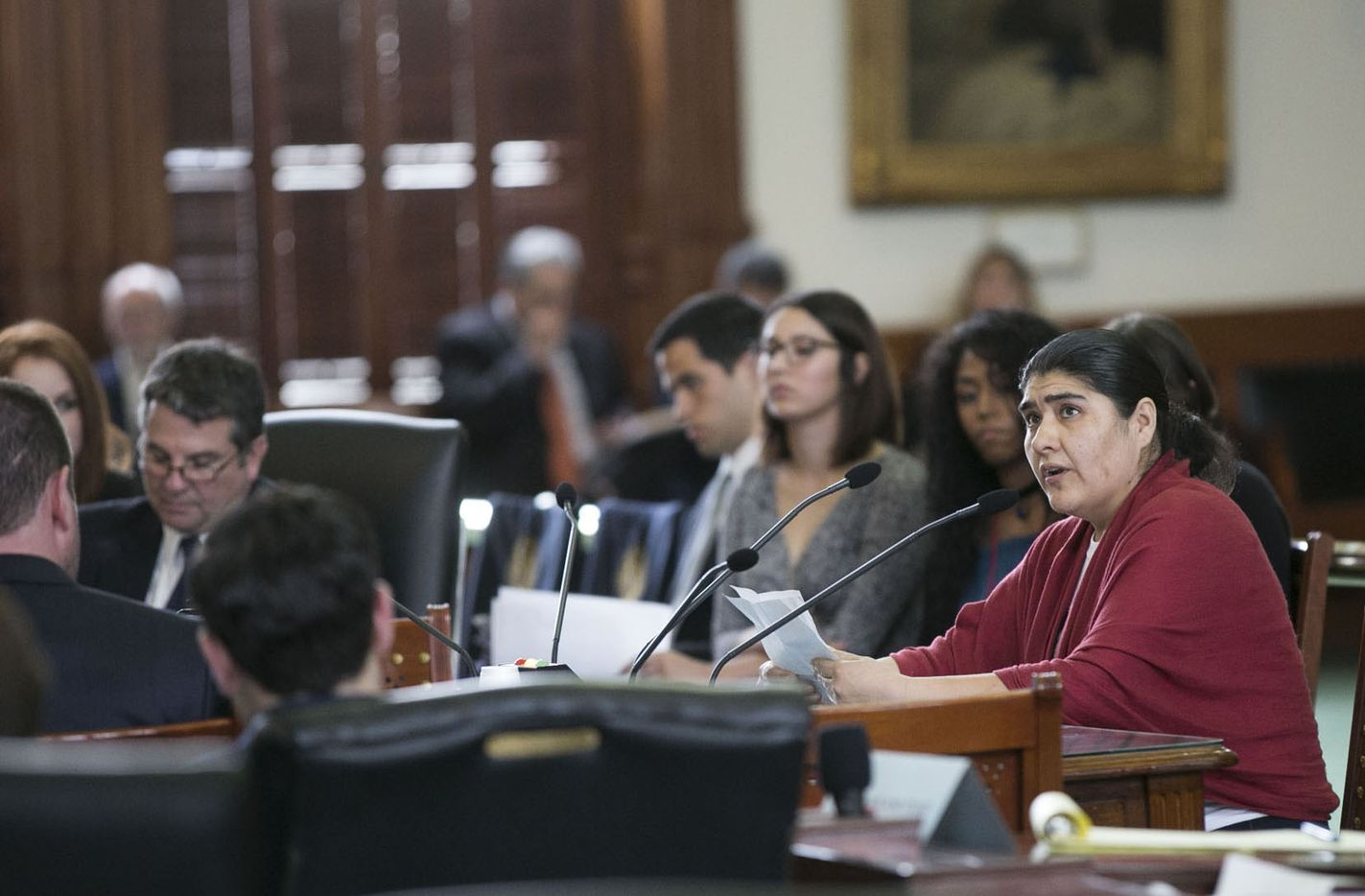 Sylvia Martinez, from Austin, Texas, glances up at the gallery as she speaks about her opposition to SB4 at the Texas Capitol on Thursday, February 2, 2017.