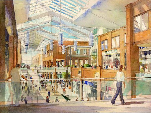 This artist rendering of the upscale Glorypark retail and residential development shows the pedestrian view of the enclosed street from Level 2.