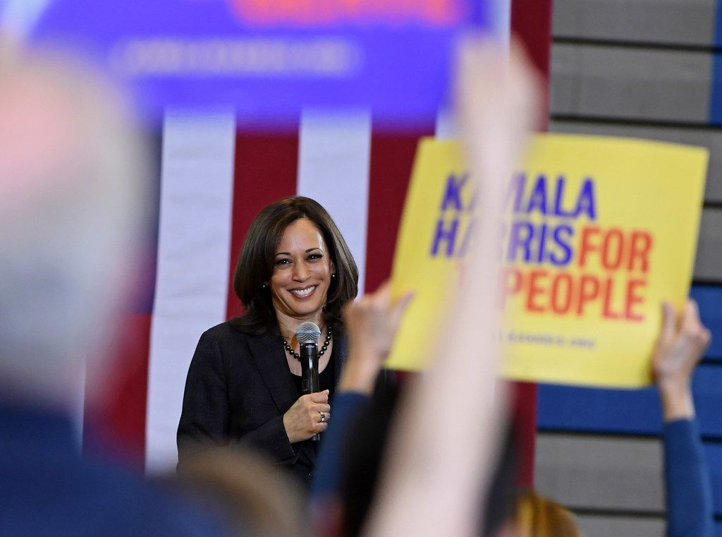 Sen. Kamala Harris campaigns at Canyon Springs High School on March 1, 2019 in North Las Vegas, Nevada.