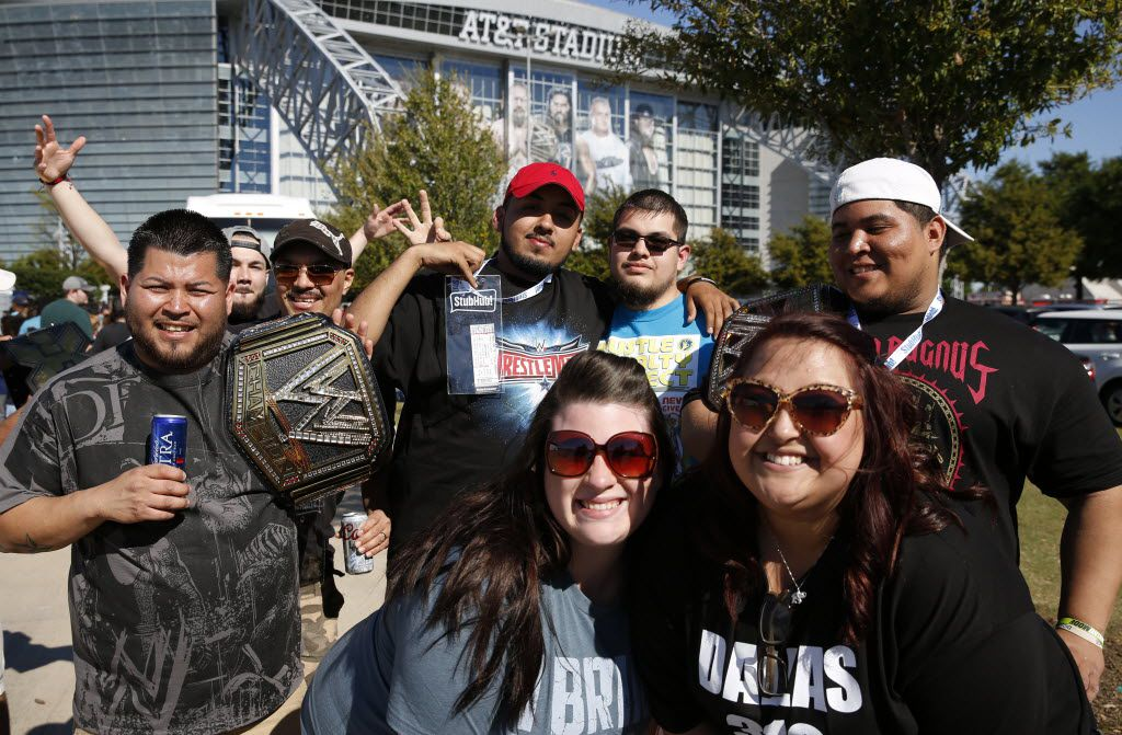 WrestleMania 32 fans pose for a portrait at AT&T Stadium in Arlington, TX, Sunday, April 3, 2016. (David Guzman/The Dallas Morning News)