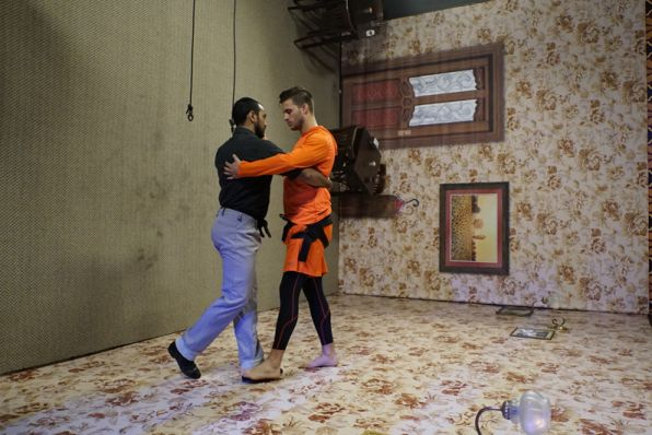 Tanner  Kloven of Dallas must learn the tango -- with a twist -- to earn a clue to make it to the pit stop. (CBS/Amazing Race)