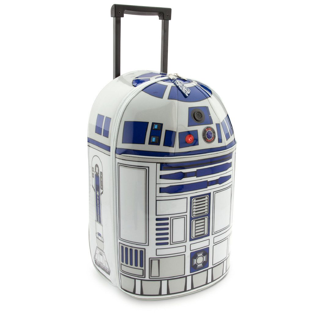 R2-D2 Rolling Luggage from Disney: Now they can take R2-D2 on their adventures when they visit galaxies far far away, or a little closer to home. The Astromech droid has been adapted for earthly travels as this rolling luggage that beeps and lights up!