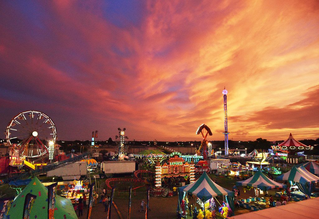 A colorful sunset brings the North Texas Fair and Rodeo to a close in 2017.