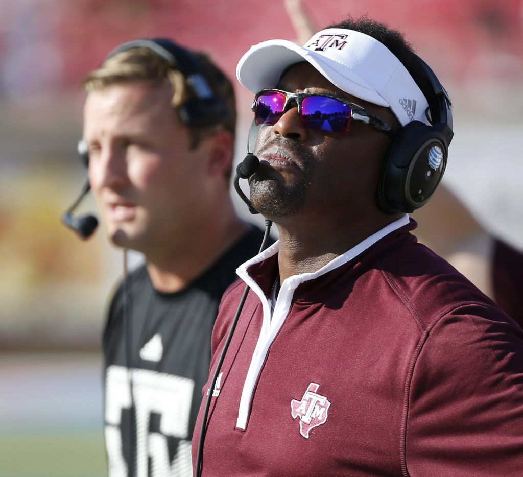 Texas A&M head coach Kevin Sumlin in the fourth quarter during a college football game between Texas A&M and SMU at Gerald J. Ford Stadium in Dallas Saturday 20, 2014. Texas A&M beat SMU 58-6. (Andy Jacobsohn/The Dallas Morning News)