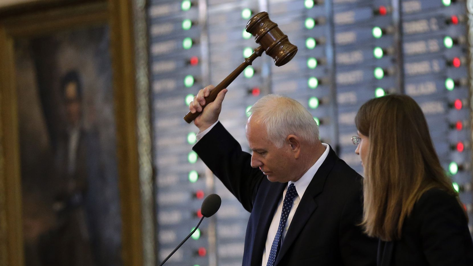 Rep. Allan Ritter, R-Nederland, strikes the gavel as the Texas House votes on an amendment to HB 2, legislation that will restrict abortion rights, on the Texas House floor,Tuesday, July 9, 2013, in Austin, Texas. The Texas House is expected to vote on the bill Tuesday. (AP Photo/Eric Gay)