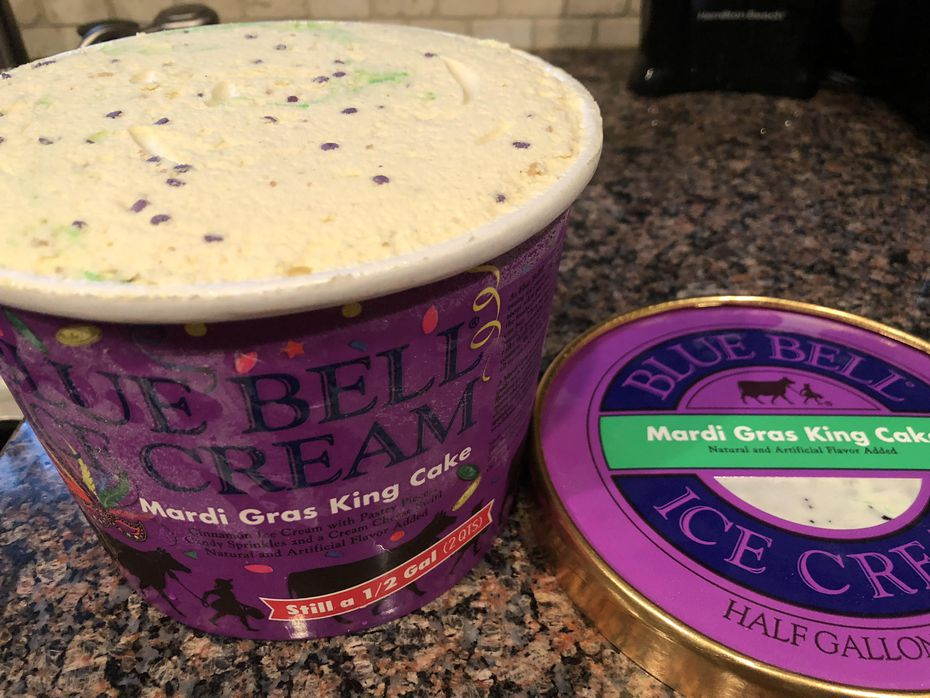Mardi Gras King Cake Blue Bell is cinnamon ice cream with with pastry pieces, candy sprinkles and a cream cheese swirl.
