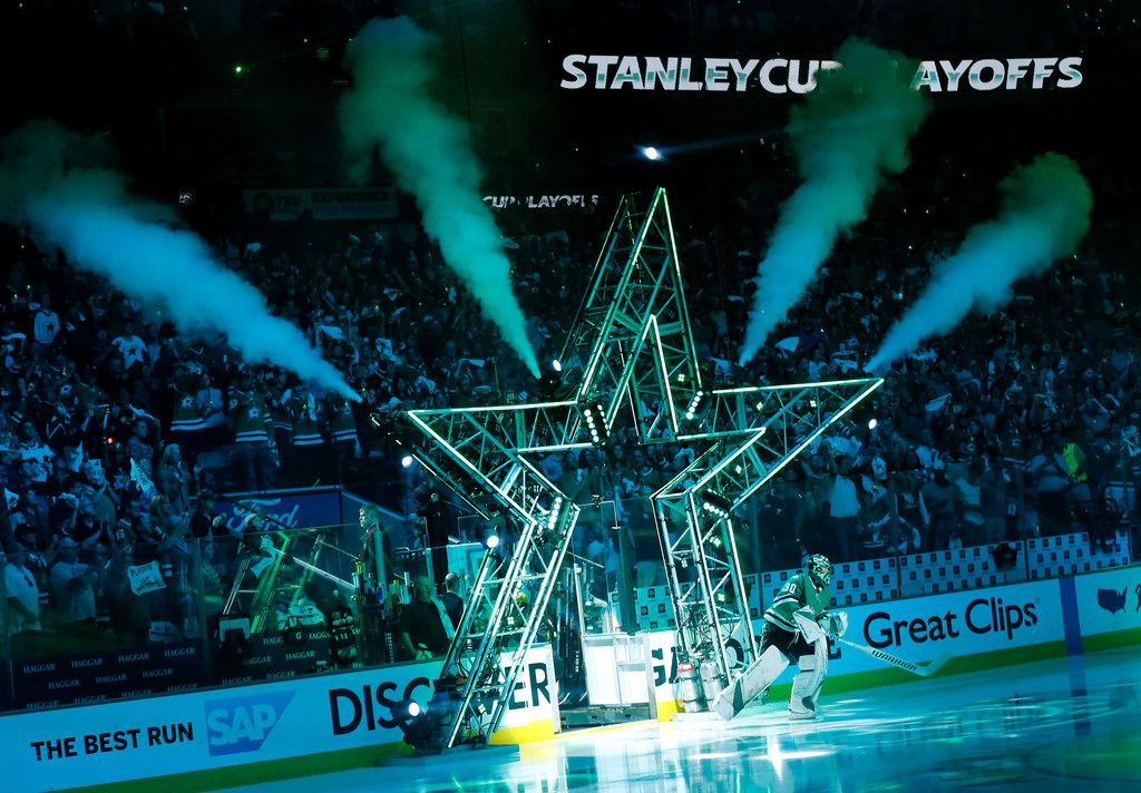 FILE - Dallas Stars goaltender Ben Bishop (30) takes the ice to face the St. Louis Blues during player introductions at the American Airlines Center in Dallas, Sunday, May 5, 2019. The teams were playing Western Conference Second Round Game 6 of the 2019 NHL Stanley Cup Playoffs. (Tom Fox/The Dallas Morning News)