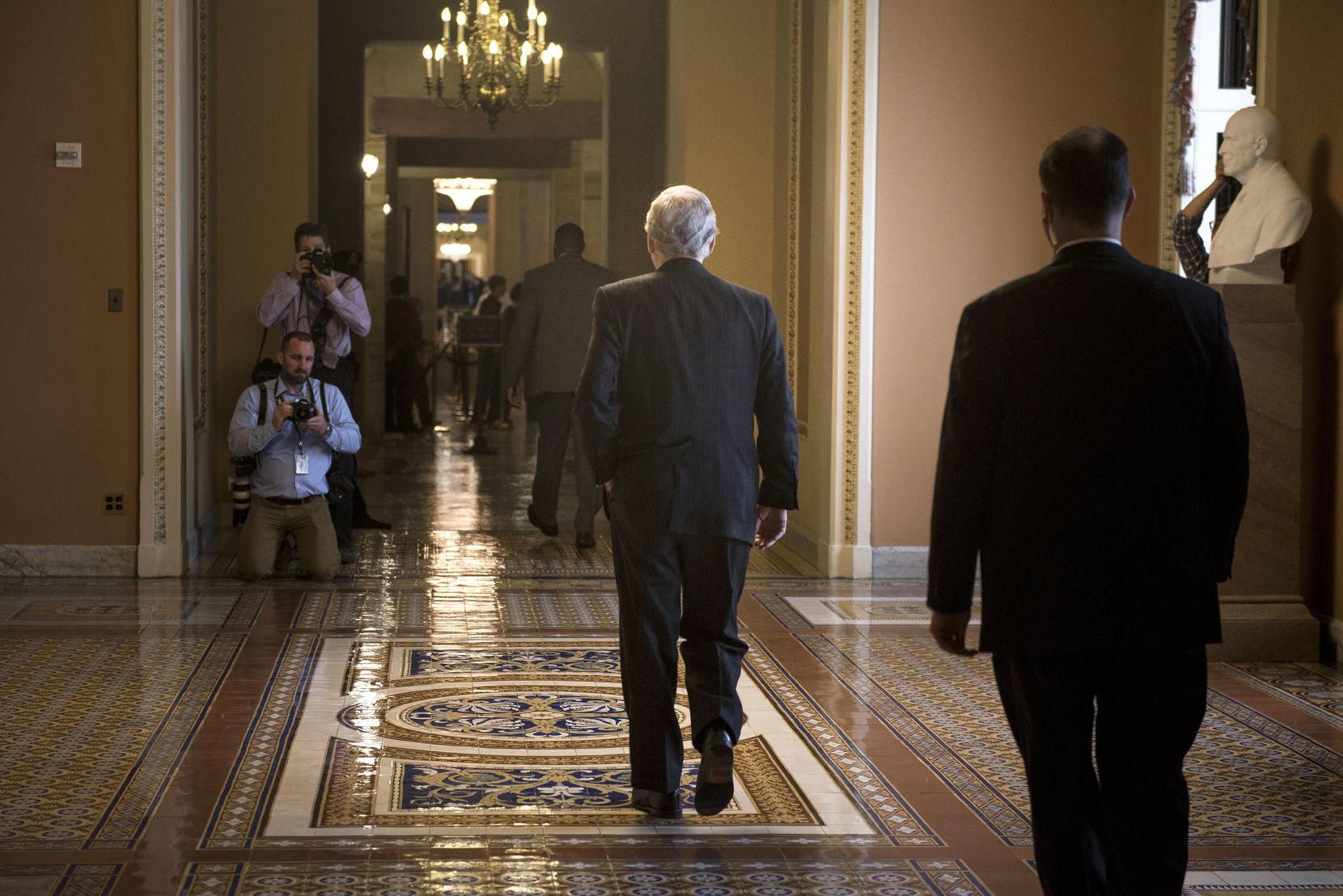 Senate Majority Leader Mitch McConnell (R-Ky.) after news conference on Capitol Hill, in Washington, April 25, 2017. Three days before the deadline to avert a government shutdown, congressional leaders were negotiating a spending proposal on Tuesday that would supply no money for President Donald Trump's promised border wall with Mexico but would increase funding for White House priorities.