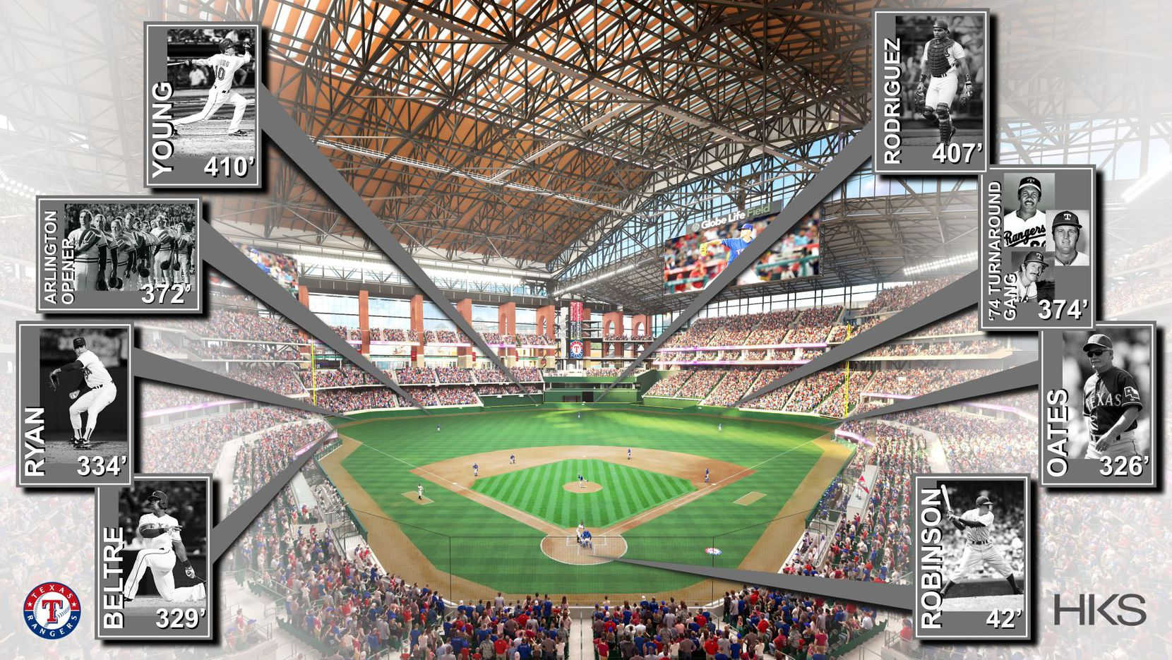 Renderings from the Texas Rangers of the field dimensions for Globe Life Field.