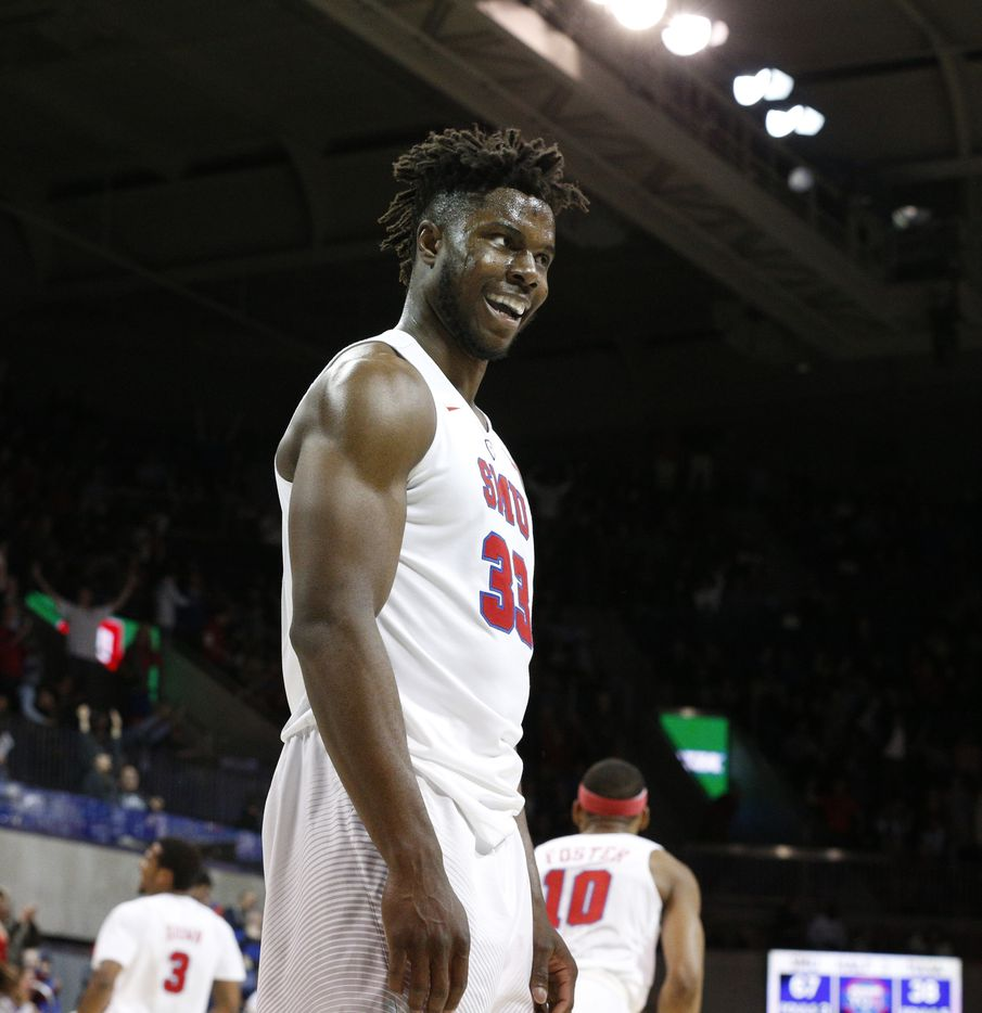 Southern Methodist Mustangs forward Semi Ojeleye (33) screams after an alley-ooo during the second half against the Tulsa Golden Hurricanes at Moody Coliseum in Dallas on March 2, 2017.  SMU won, 93-70.