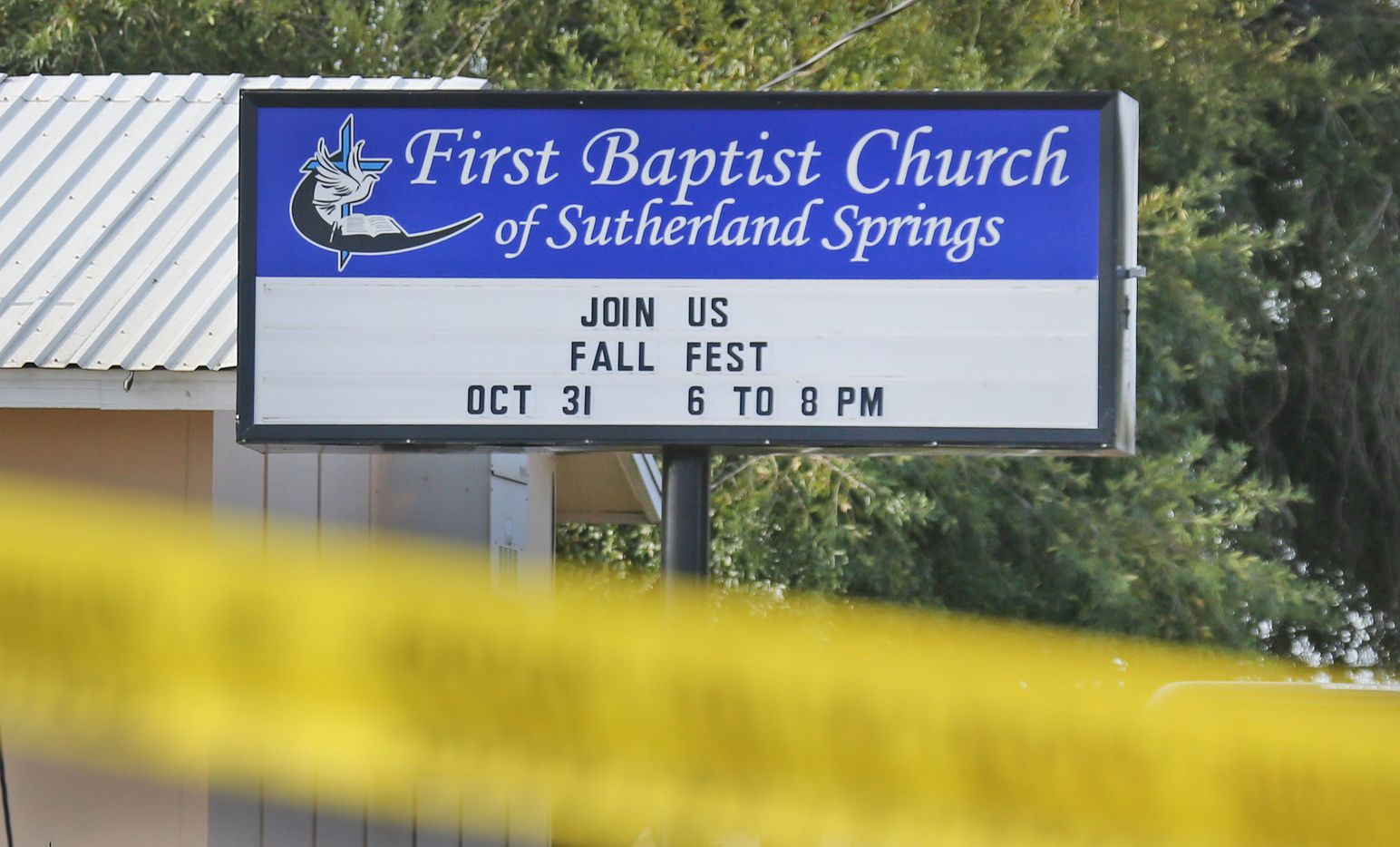 The investigation continues at the First Baptist Church of Sutherland Springs, Texas. At least 26 people died Sunday after a gunman opened fire at a Baptist church in the small town southeast of San Antonio. Photographed on Monday, November 6, 2017. (Louis DeLuca/The Dallas Morning News)