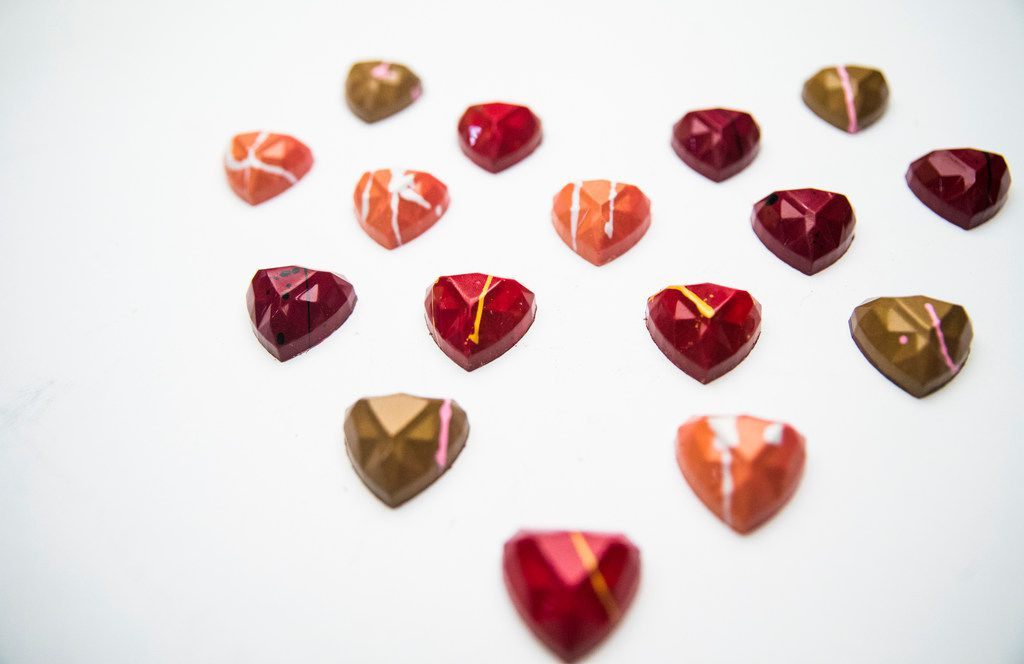Kate Weiser is selling chocolate hearts shaped like diamonds.