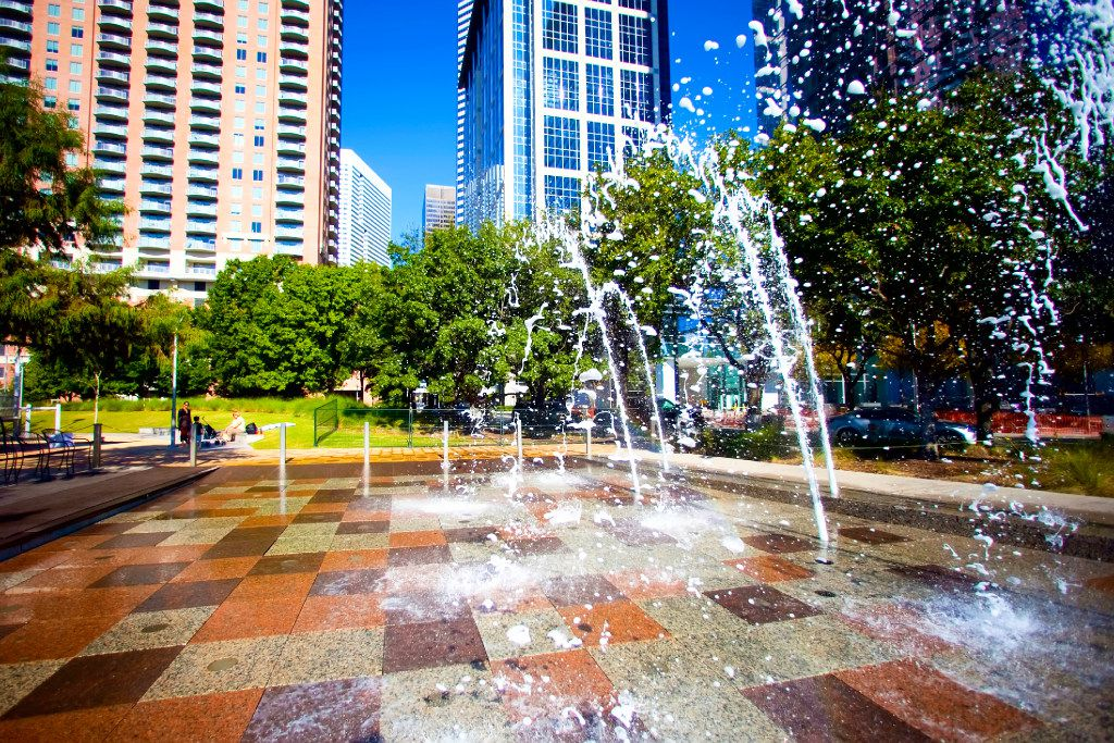Gateway Fountain is one of the more popular features at Discovery Green in Houston.