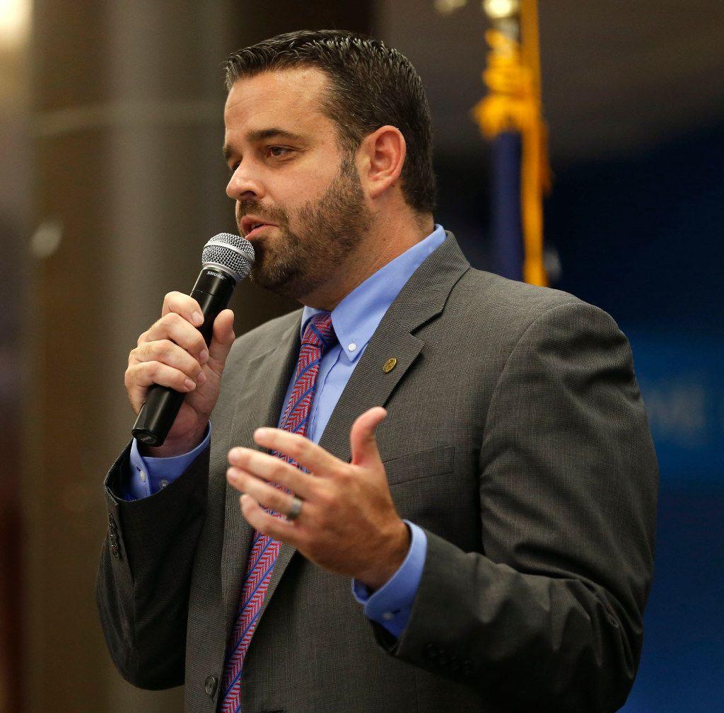 Dallas city council member Adam McGough speaks at El Centro College in at 2017 file photo.. (Rose Baca/The Dallas Morning News)