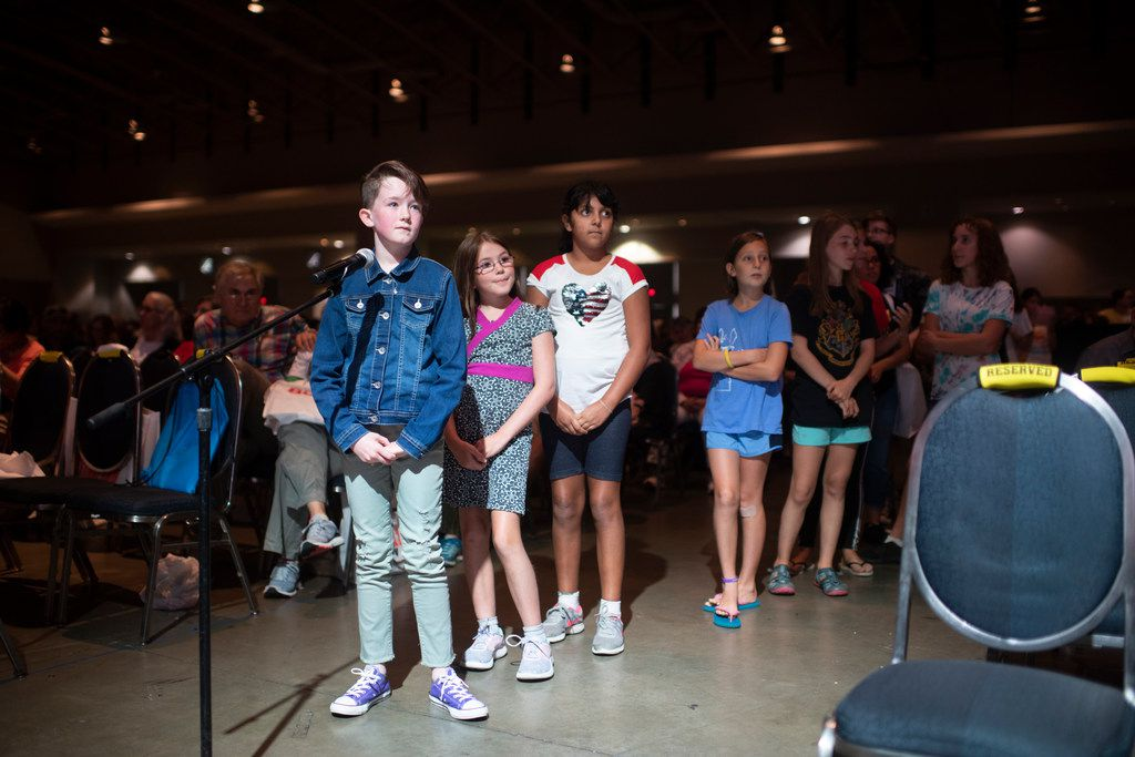 Kids line up to ask Raina Telgemeier questions at her 2019 National Book Festival appearance in Washington, D.C.