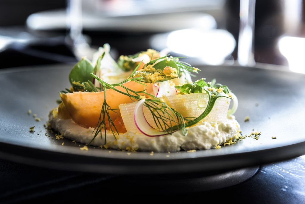 An example of Matt McCallister's food at FT33: stracciatella with pickled vegetables