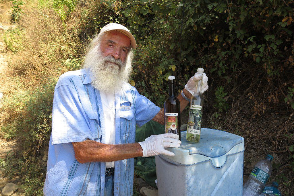 Eighty-year-old Angelo Celsi, one of just 4,000 residents within Italy's Cinque Terre, sells freshly squeezed lemon and orange juice along one of the park trails.