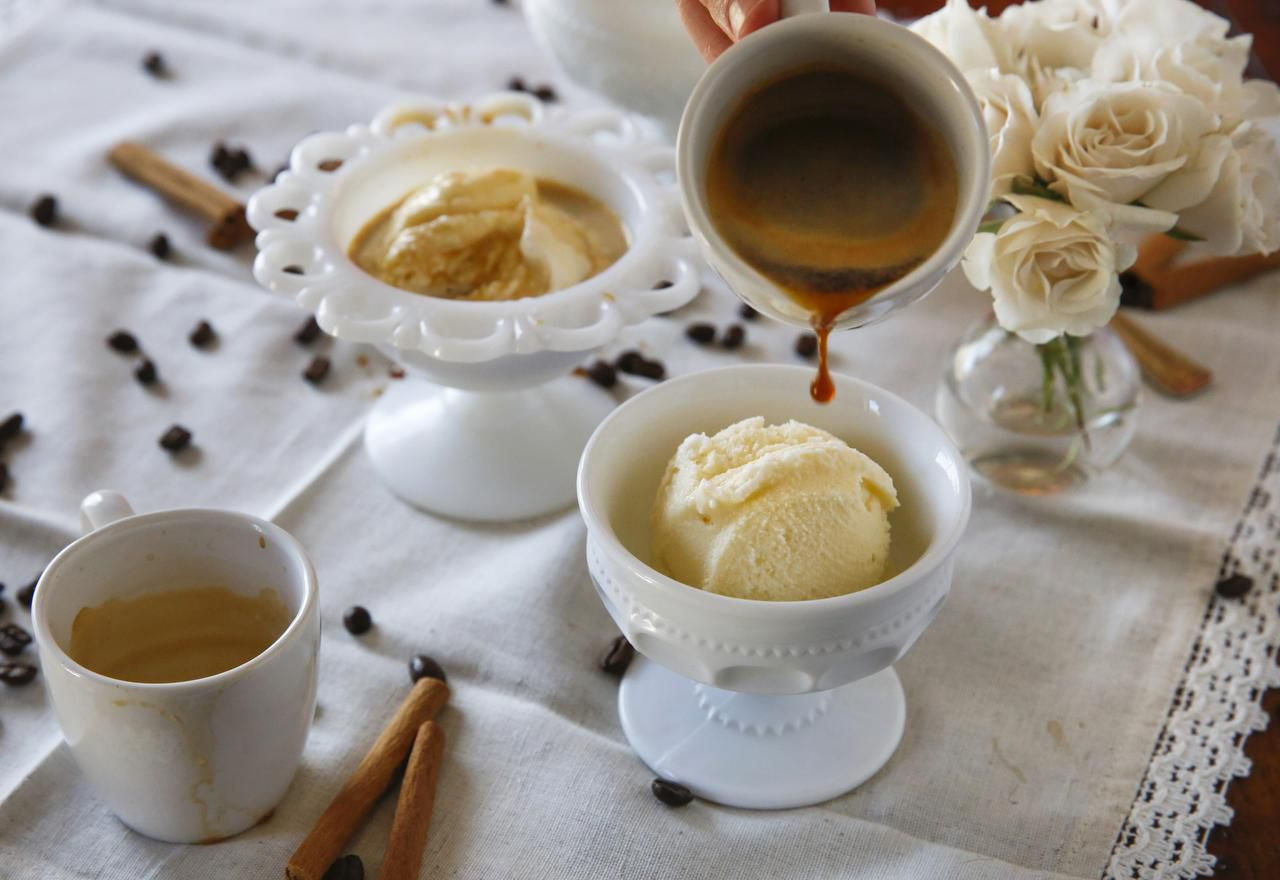 To make Cinnamon Affogato, add one shot of espresso (or very strong coffee) to a scoop of cinnamon ice cream.