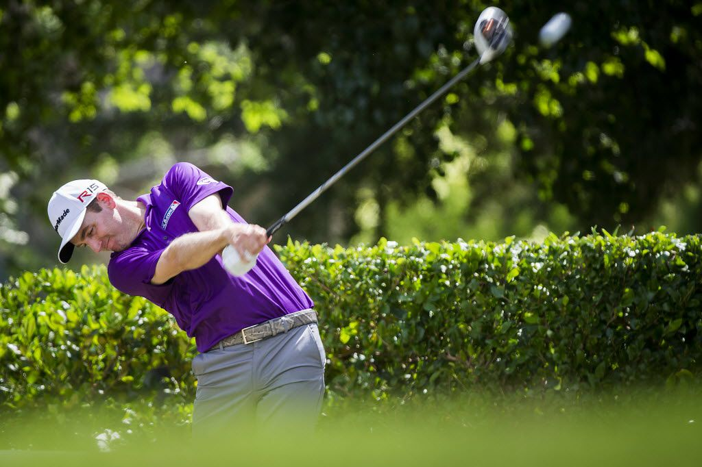 Defending tournament champion Brendon Todd hits his tee shot on the first hole during the Alcatel-Lucent Gold Pro-Am of the AT&T Byron Nelson at the TPC Four Seasons in Irving, Texas on Wednesday, May 27, 2015. (Smiley N. Pool/The Dallas Morning News) [ 2015PUB - 2015MAY ] 05282015xSPORTS