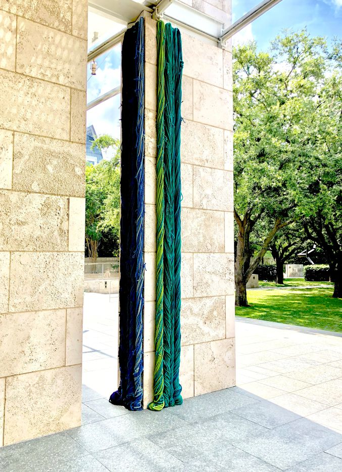 """""""Sheila Hicks: Seize, Weave Space,"""" 2019 installation, on view through Aug. 18, 2019, at the Nasher Sculpture Center in Dallas."""