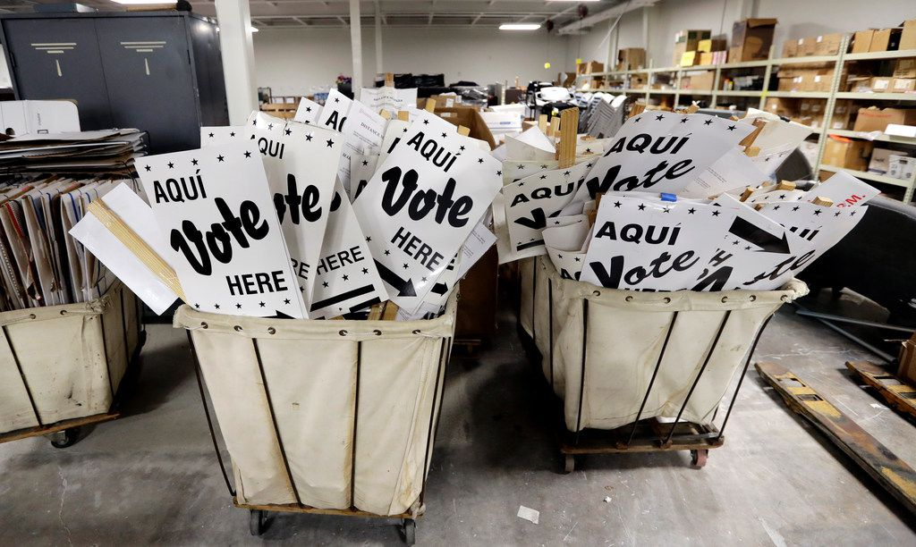 Bins of signs are seen in a storage are at the Bexar County Election offices, Tuesday, Feb. 13, 2018, in San Antonio.