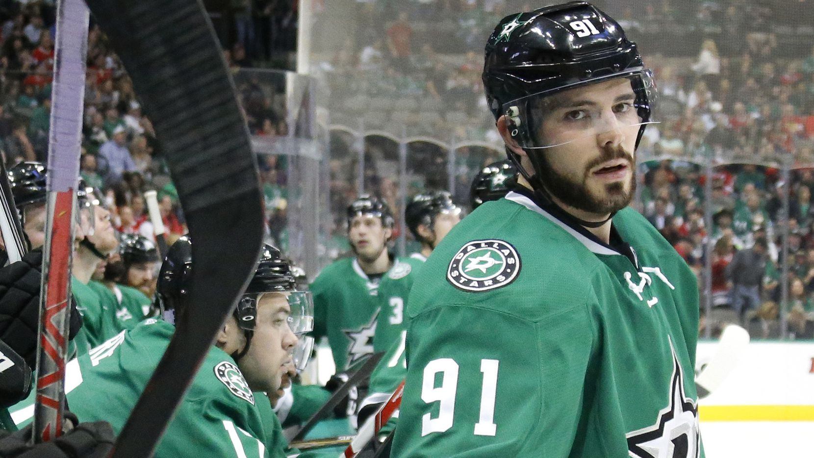 Dallas Stars center Tyler Seguin (91) is pictured during the Chicago Blackhawks vs. the Dallas Stars NHL hockey game at the American Airlines Center in Dallas on Saturday, November 5, 2016. (Louis DeLuca/The Dallas Morning News)