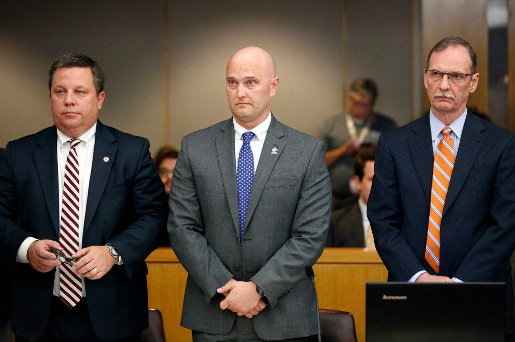 Fired Balch Springs police officer Roy Oliver was flanked by his attorneys Miles Brissette (left) and Bob Gill before the verdict was read Tuesday afternoon.