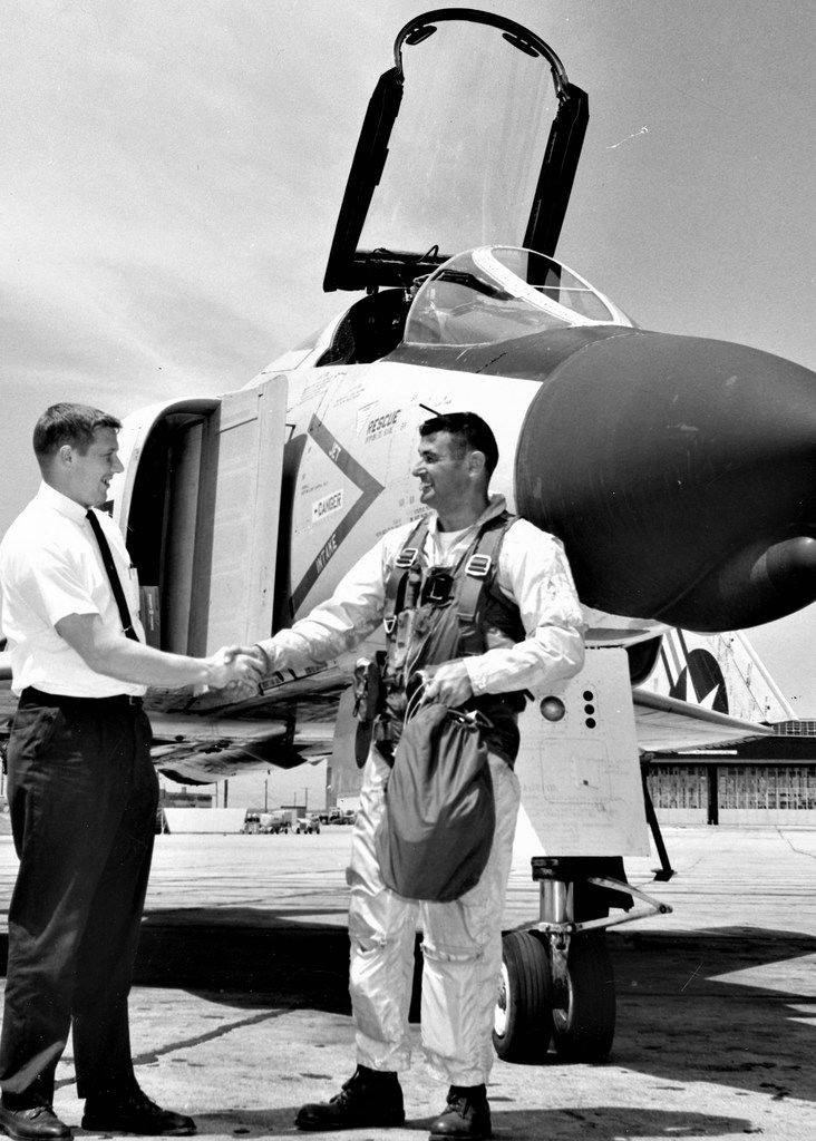 Charles L. Wilcox as a Navy test pilot with an F-4. (Wilcox family)