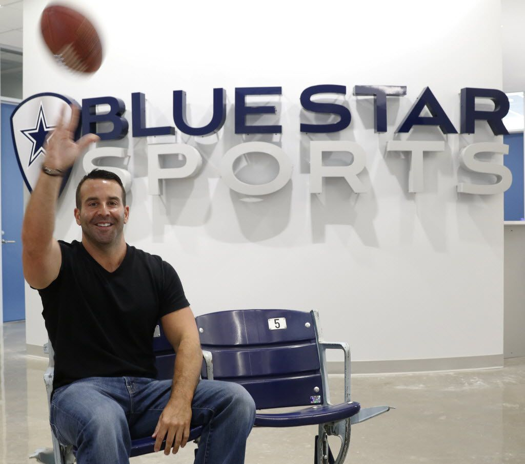 Blue Star Sports CEO Rob Wechsler's buying spree includes a number of companies with technology to fully digitize youth sports. His Frisco office also includes a couple seats from Texas Stadium, the former home of the Dallas Cowboys. (David Woo/The Dallas Morning News)