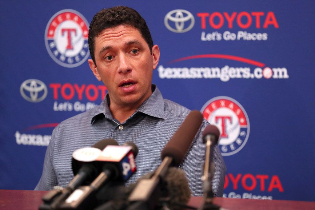 ARLINGTON, TEXAS - JULY 01: Texas Rangers General Manager Jon Daniels talks with the media following the announcement that the game between the Texas Rangers and the Los Angeles Angels has been postponed at Globe Life Park in Arlington on July 01, 2019 in Arlington, Texas. The game was postponed following an announcement made by the Los Angeles Angels that pitcher Tyler Skaggs had died.
