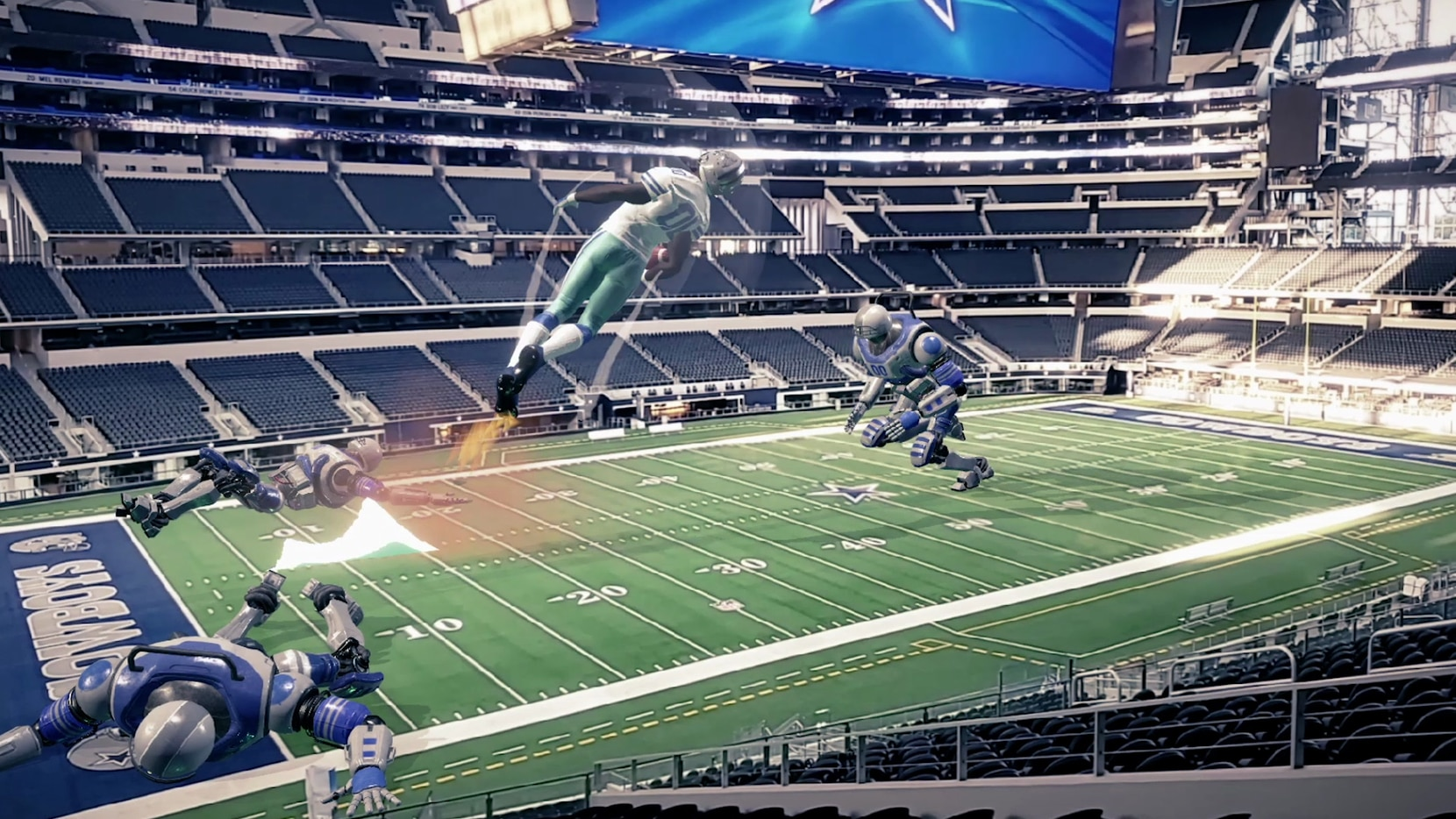 A rendering of the larger-than-life augmented reality game that will be available to Cowboys fans using the latest Samsung Galaxy phones.