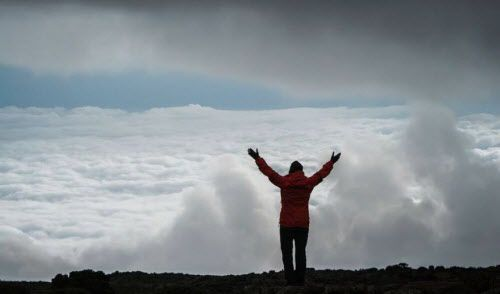 Dallas oncologist Brian Berryman at the summit of Mount Kilimanjaro.