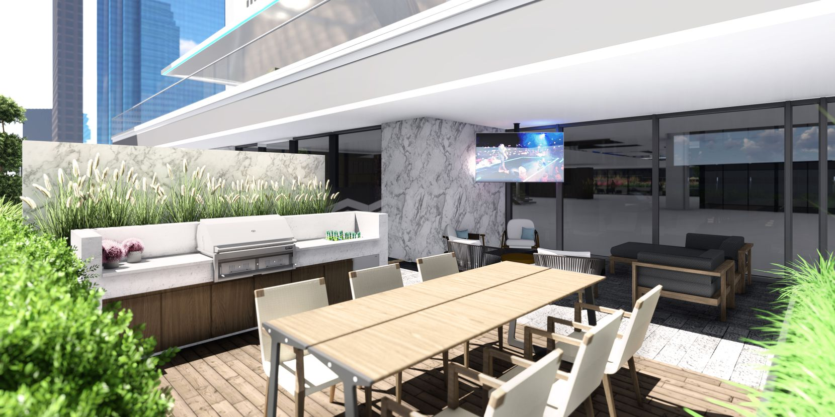 A dining area on the ninth floor deck at The Drever.