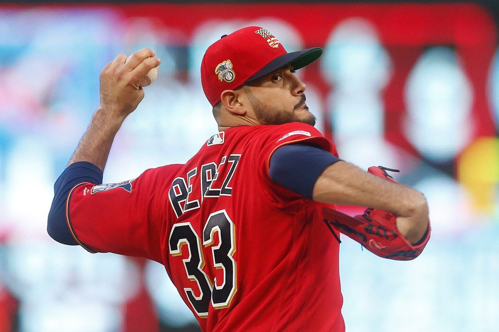 Minnesota Twins pitcher Martin Perez throws to a Texas Rangers batter during the first inning of a baseball game Friday, July 5, 2019, in Minneapolis. (AP Photo/Jim Mone)