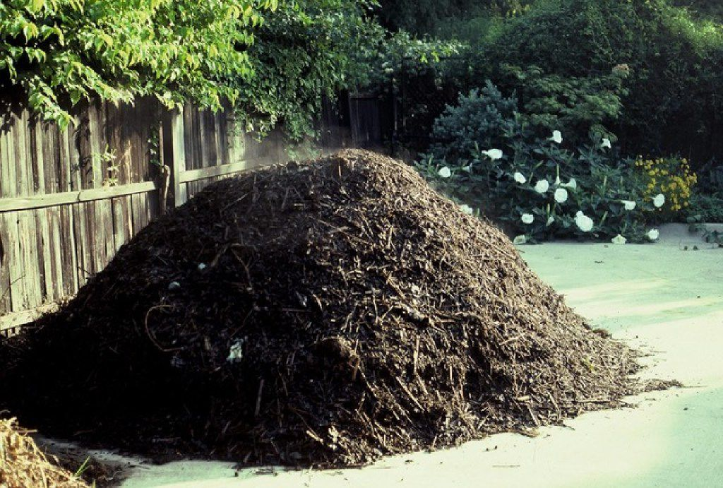 Howard Garrett likes freestanding piles of compost using large amounts of shredded tree trimmings.